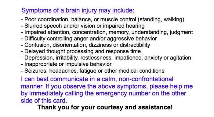 brain injury wallet card back